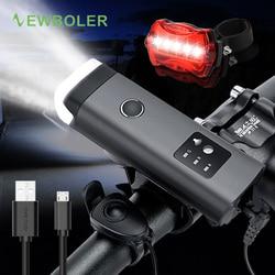 Juego de luces delanteras para bicicleta de inducción inteligente NEWBOLER con altavoz, bocina 120 decibelios, luces para bicicleta, lámpara LED recargable por USB para ciclismo