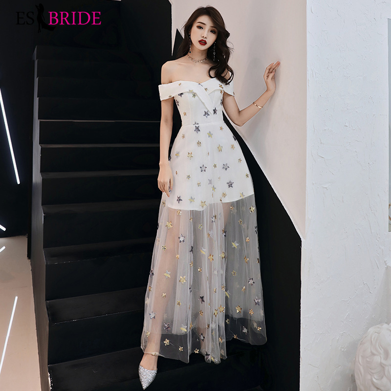 White   Prom     Dresses   Long ES3175 A-Line Off The Shoulder Embroidery Pattern Tulle Elegant Formal Gowns Vestido Comprido 2020