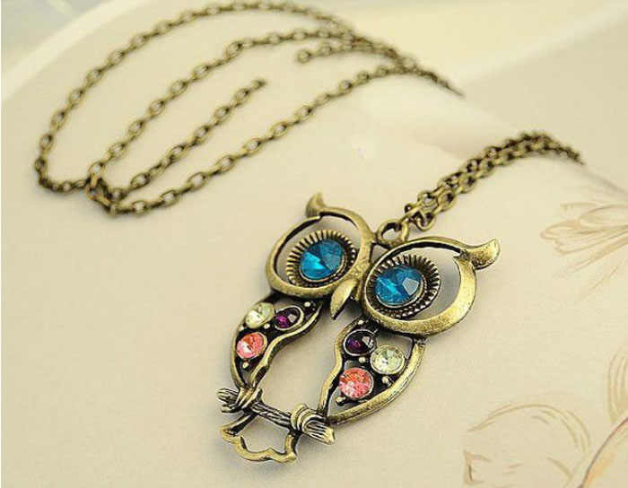 Lady Crystal Blue Eyed Owl Long Chain Pendant Sweater Coat statement Necklace Dress Accessory Christmas Gift Pendientes De Mujer
