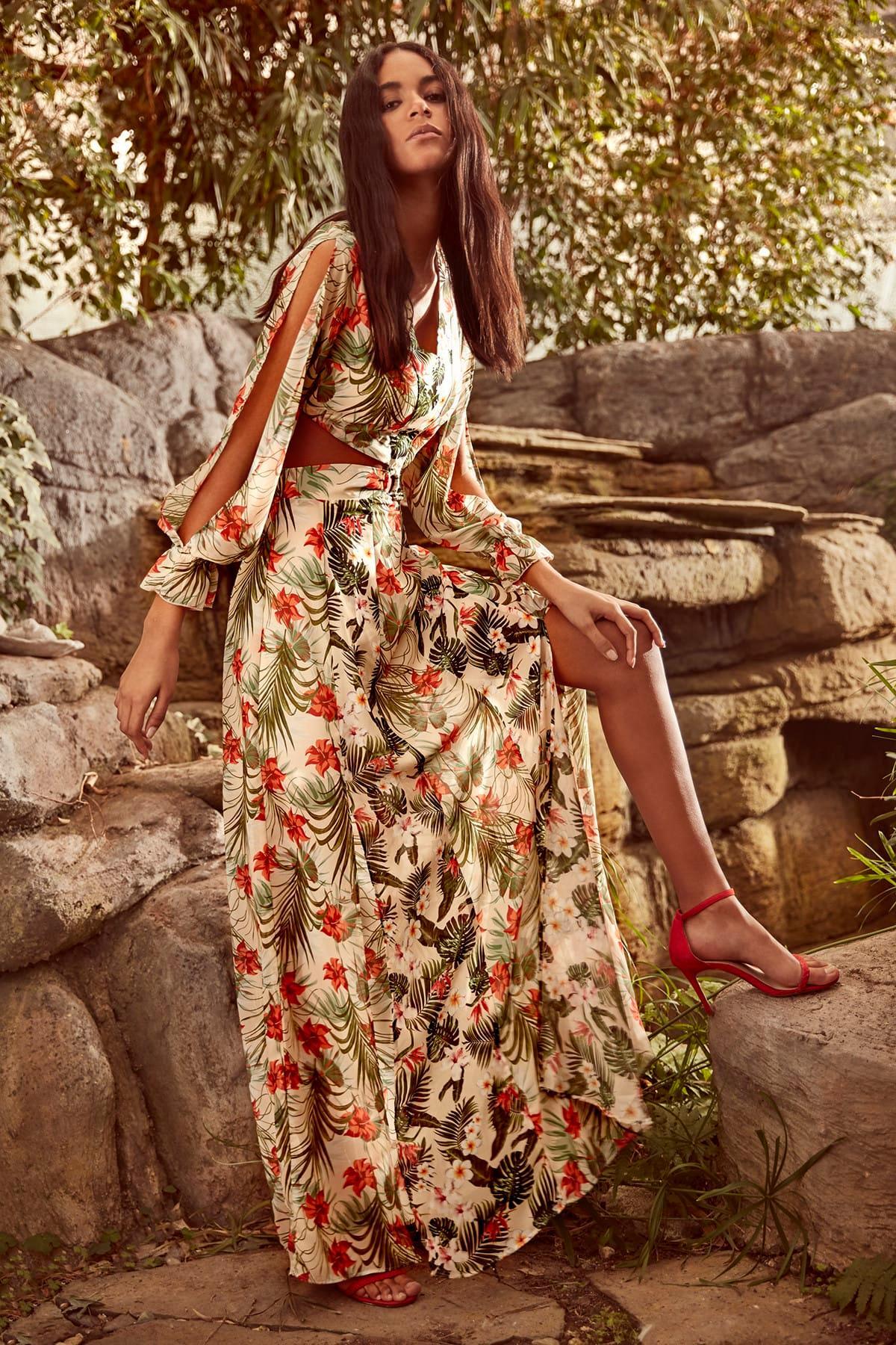 Trendyol Cream Patterned Dress TWOSS19EH0240