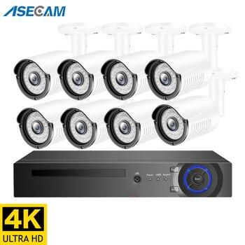 Super 4K 8MP H.265 POE NVR zestaw System bezpieczeństwa CCTV na świeżym powietrzu aparat IP HD P2P 8ch nagrywanie wideo nadzoru zestaw