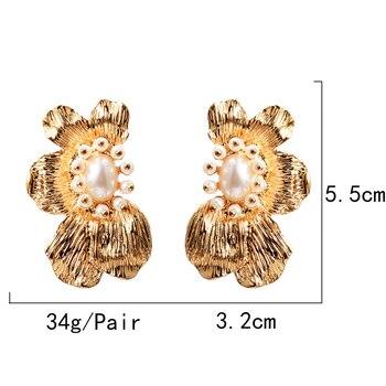 Flower-Shaped Metal Pearl Drop Earrings  6