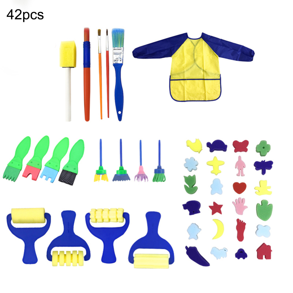 42 Pcs Kids Early Learning Sponge Painting Brushes Kit Paint Craft Brushes For Toddlers