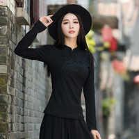 Традиционная китайская одежда для женщин осень весна элегантный воротник стойка черный красный Вышивка плотная блузка рубашка roupa feminina