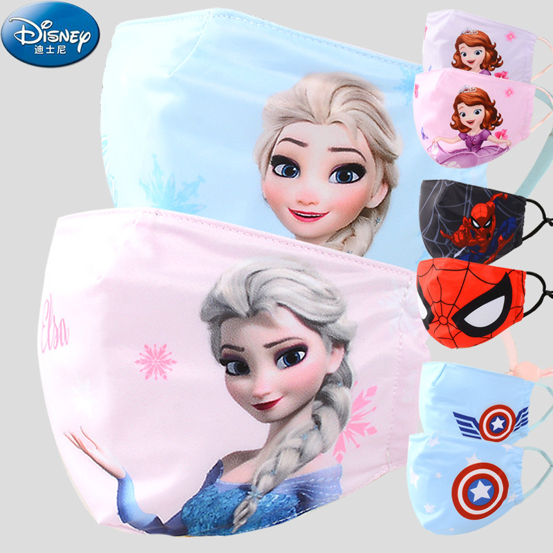 Disney Frozen Spider-Man Children Face Mouth Mask Washable Mouth-muffle Respirator Cartoon Cotton Masks Outdoor Health Care Mask