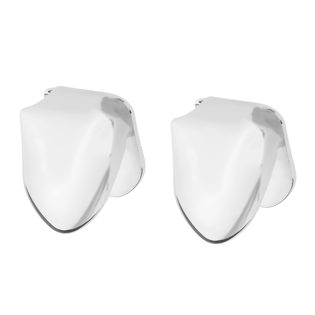 2 Pcs silver color Plated Single Grill Tooth Clip Mouth Teeth Cap Grills Bling Kit For Party Prom Wedding Bridal Casual Body Jewelry