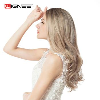 Wignee Long 2 Tone Ombre Brown Ash Blonde Temperature Synthetic Wigs For Black/White Women Glueless Wavy Daily/Cosplay Hair Wig 4