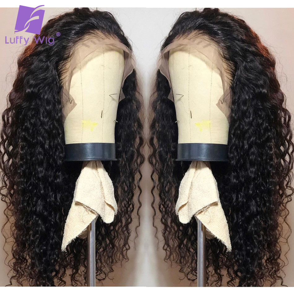 13x6 Curly Lace Front Human Hair Wigs 130Density Glueless With Baby Hair Deep Part Preplucked Remy Brazilian Wig For Women LUFFY
