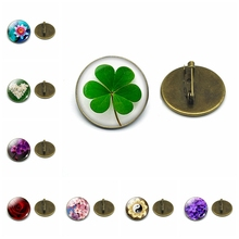 Shamrock Four-leaf Clover Flower Art Photo Glass Cabochon Brooch Men Women Pins Badge