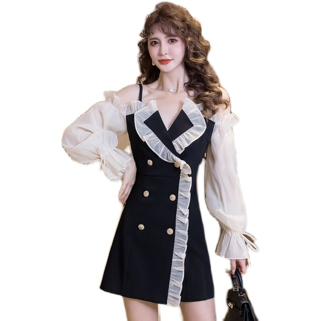 COIGARSAM Sexy Women one-piece dress korean Spaghetti Strap Dresses Black 6968 5