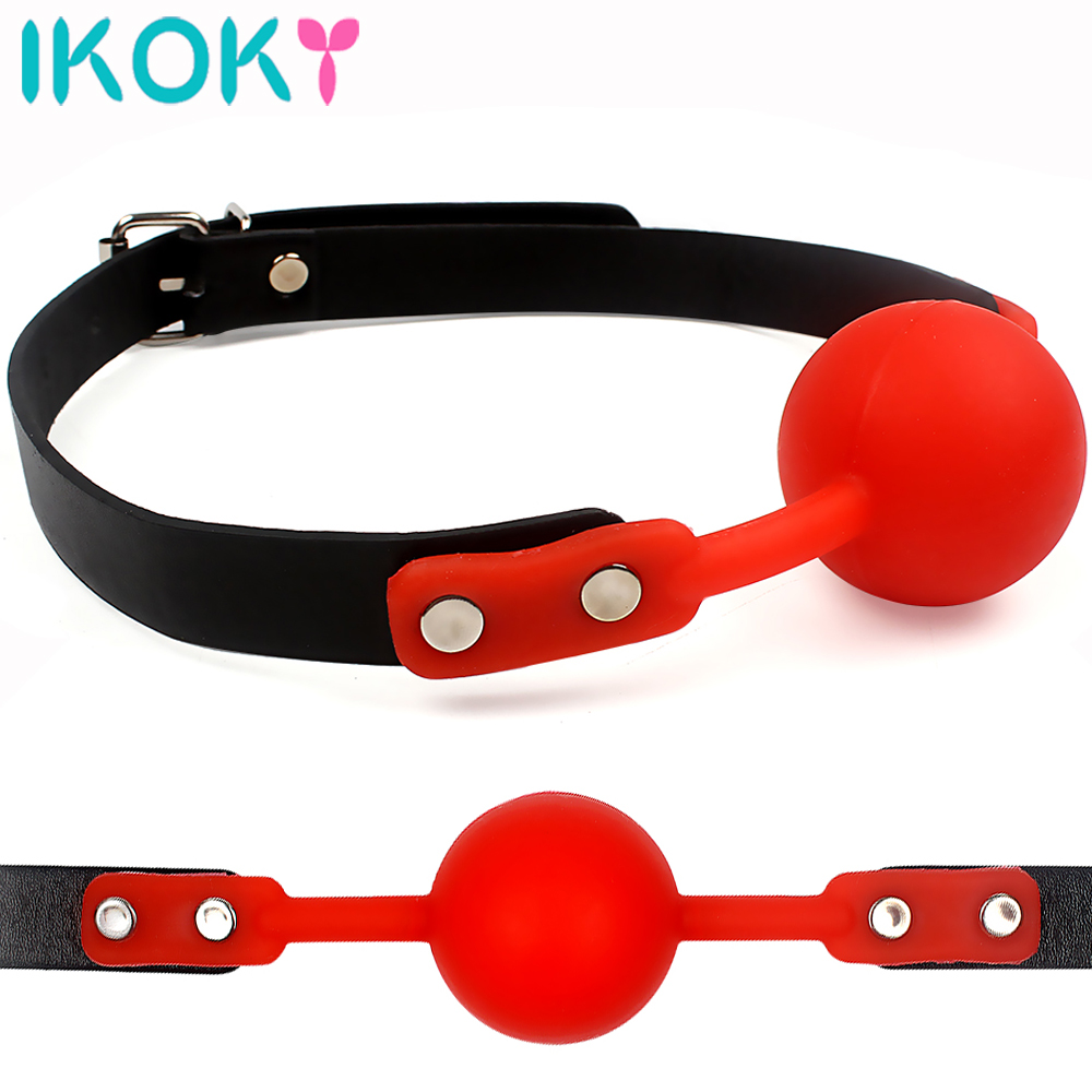 IKOKY Adult Games Mouth <font><b>Gag</b></font> Silicone <font><b>Ball</b></font> Oral Fixation PU Leather Band Bondage Restraints 4 Colors <font><b>Sex</b></font> <font><b>Toys</b></font> for Couples image