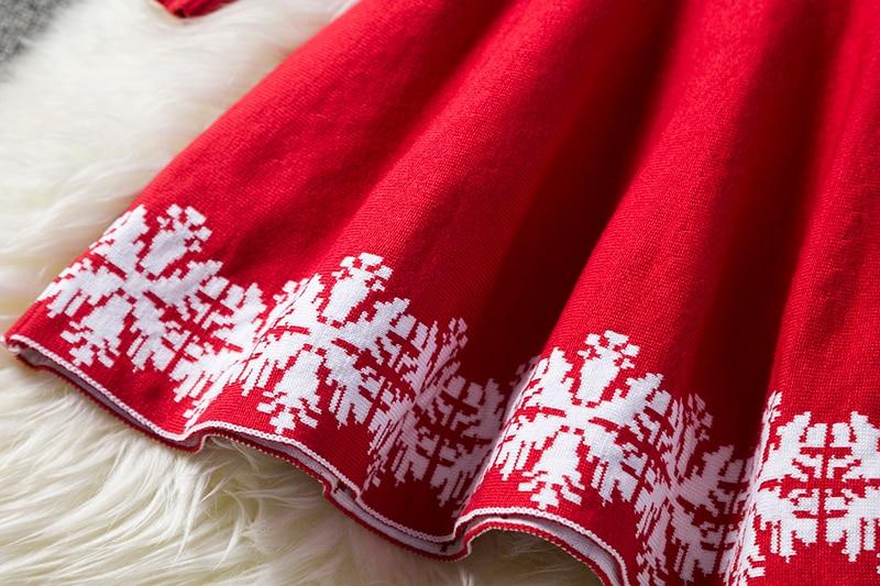 Christmas Dress Cartoon Long Sleeve Reindeer Princess Costume Snowflake Print Kids Dresses For Girls New Year Party Clothing 6