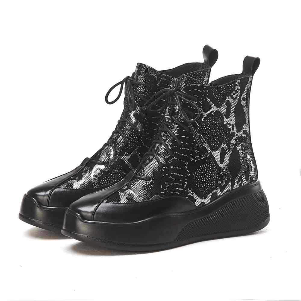 Krazing pot yeni desenler koyun deri lace up motosiklet botları yuvarlak ayak eğlence kalın alt kış streetwear yarım çizmeler l62