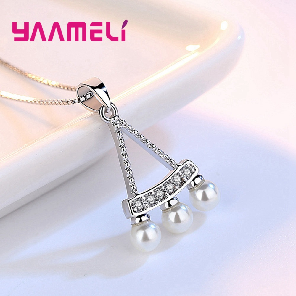 Women Fine 925 Sterling Silver Crystal Pearl Pendant Necklaces for Wedding Engagement Anniversary Gifts Fashion Accessory 3