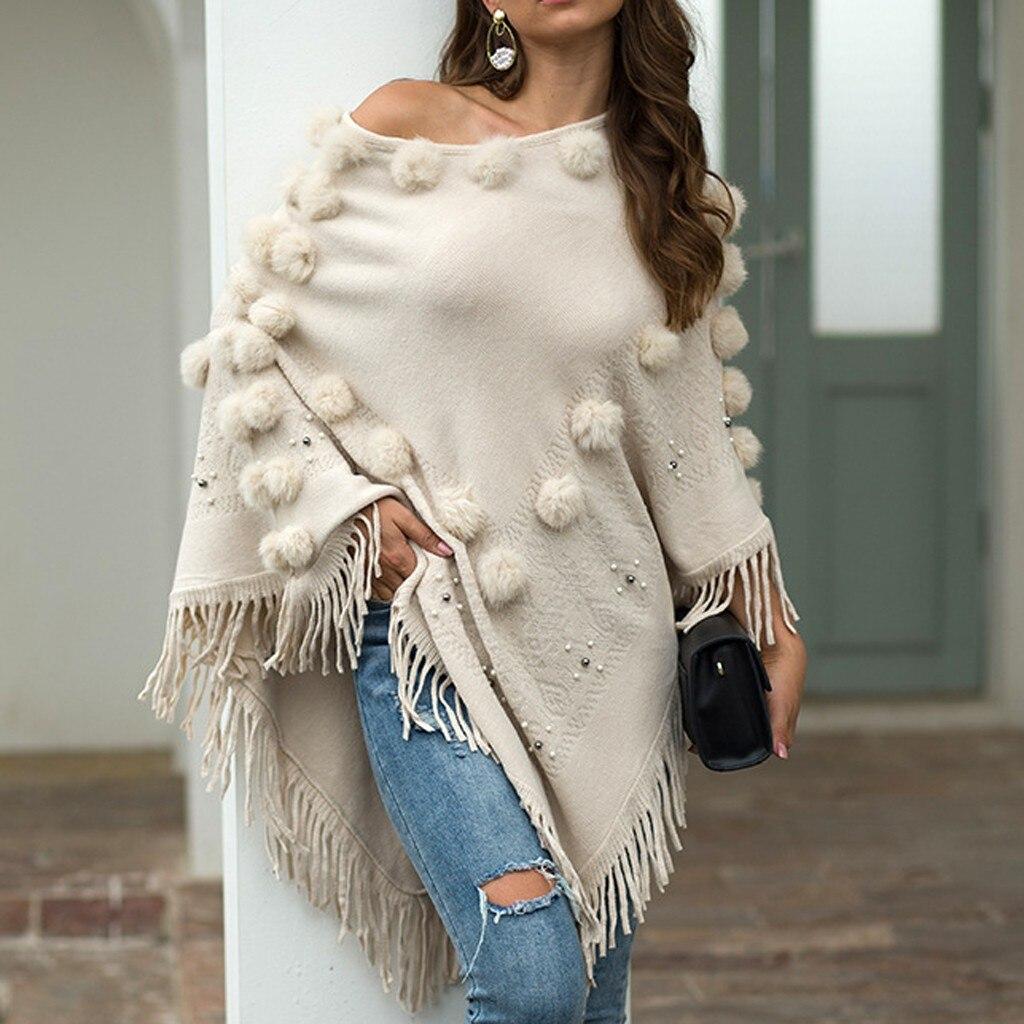Casual Sweater Women O-Neck Solid Hairball Tassel Cloak Loose Shawl Sweater Coat Korean Style Women Modis Sweater N