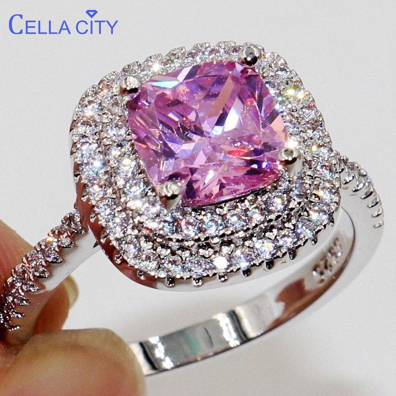 Cellacity Classic Silver 925 Ring With Square Gemstone Zircon Jewelry Wihte Pink Purple Green Color Wedding Engagement Gift