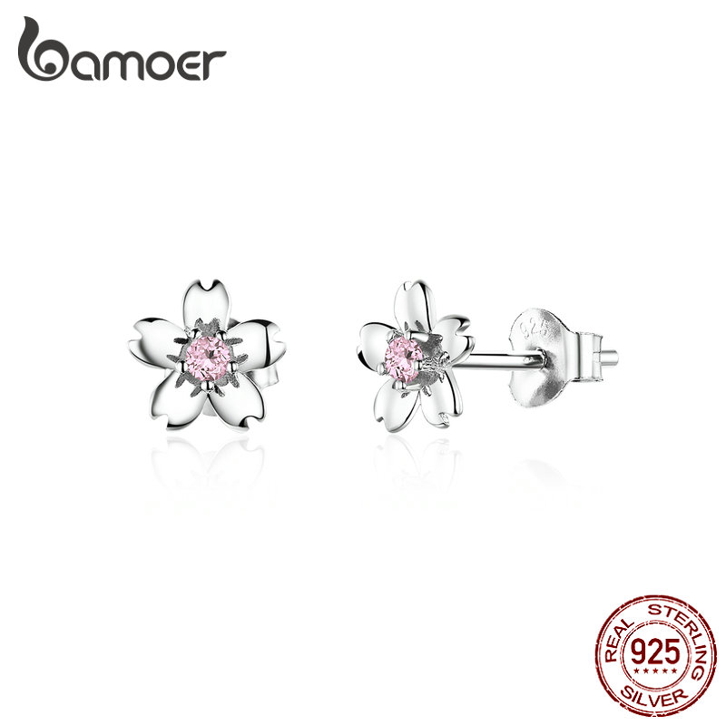 Bamoer Pink Cherry Flower Stud Earrings For Women 925 Sterling Silver Cute Korean Girls Earings Accessories Oreilles SCE784