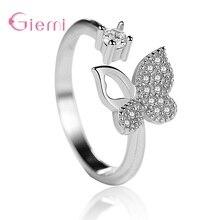 Trendy S925 Sterling Silver Classic Luxury Cute Butterfly Open Female Rings For Women Girls Party We