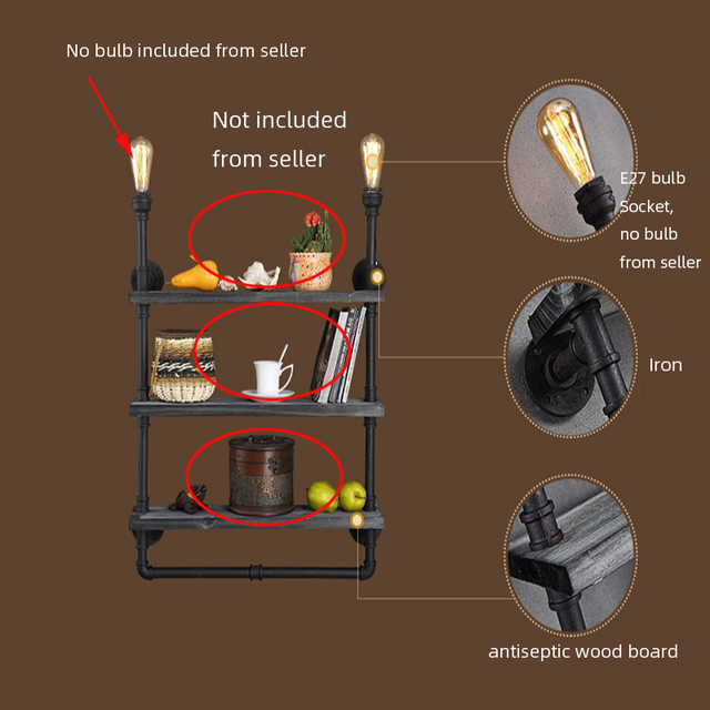 Amercianse Stijl Industrieel Boekenplank wandlamp 5