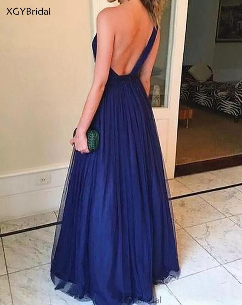Navy Blue Prom Dress Simple Tulle One Shoulder Sleeveless Floor Length A-line Backless Evening Dress robe de soirée de mariage