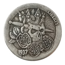 Нам хобо 1937 Буффало вырос доллар череп зомби скелет посеребренные копирования монеты Старинные монеты для коллекции Drop доставка