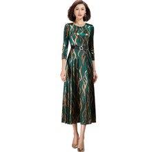 2021 primavera novo casual elegante o pescoço longo floral verde veludo vestido para mulher