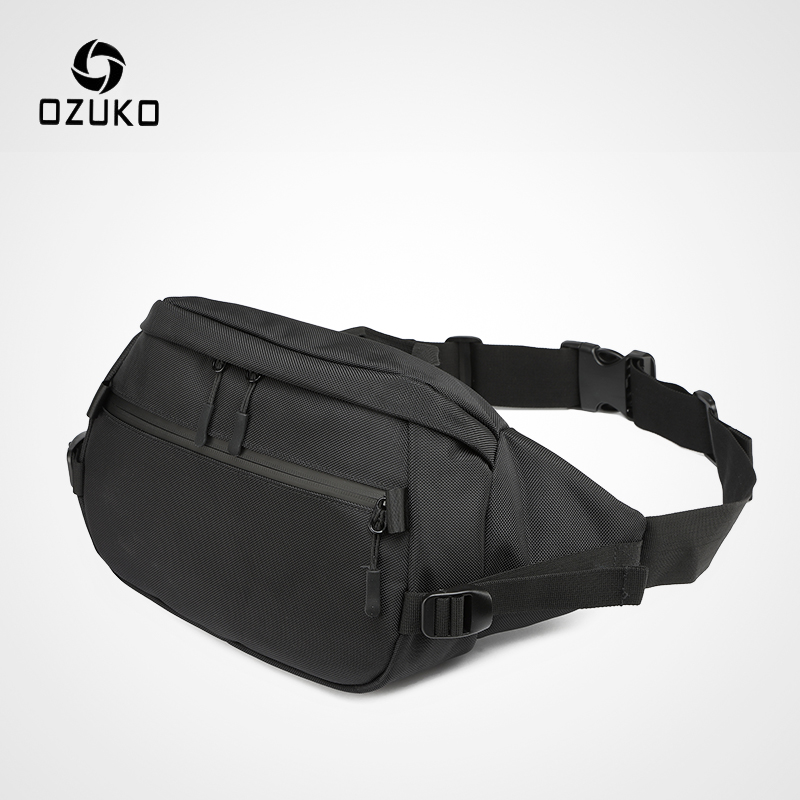 OZUKO Male Casual Waist Packs Waterproof Fanny Pack Men Shoulder Belt Bag Phone Pouch Bags For Teenage Travel Waist Chest Bag