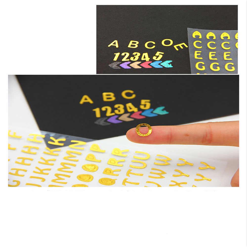 DIY albümü el kitabı dekorasyon günlüğü sticker DIY karalama defteri dijital mektup numarası dekoratif sticker 9.5x17.5cm el sanatları bronzlaştırıcı