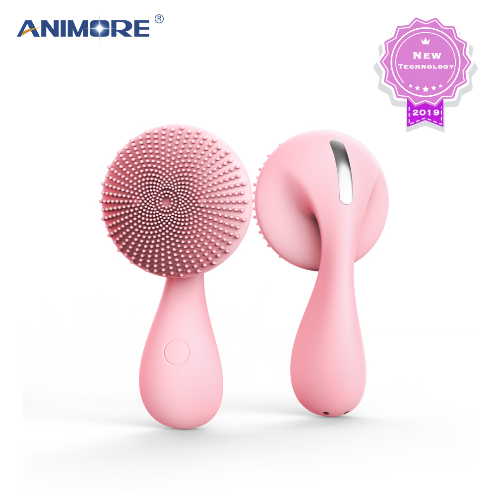 ANIMORE Silicone Face Cleansing Brush Rotating Magnetic Deep Cleaning Face Remove Make-up Residue Rechargeable Facial Brush Face