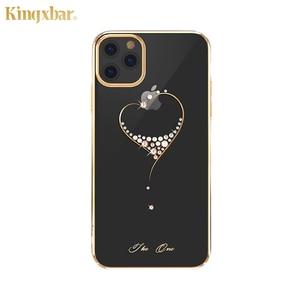 Image 2 - Kingxbar embelezado cristais caso para iphone 11/pro/max luxo coração strass diamante banhado a disco claro caso capa