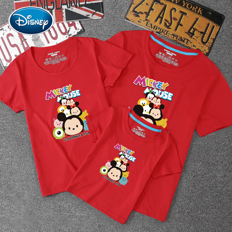 Disney Mickey imprimé motif à manches courtes famille correspondant costume Parent enfant vêtements famille de trois vêtements coton T-Shirt