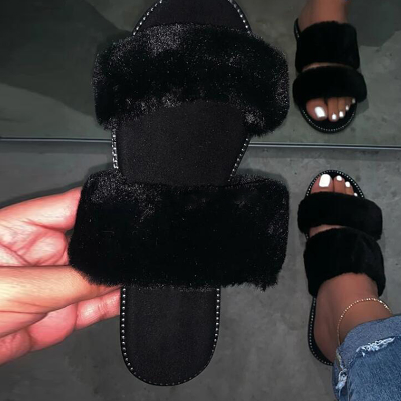 Women Slip On Fur Plush Outdoor