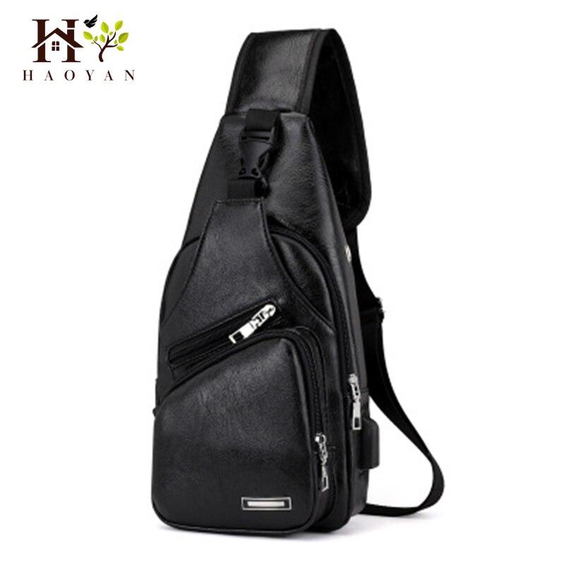 HAOYAN 2019 New Backpack Travel Men'S Messenger Bag Men'S USB Chest Bag Designer Messenger Bag Leather Shoulder Bag