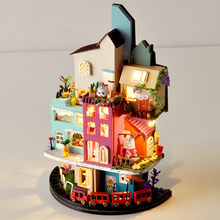 DIY Dollhouse Miniature Cloud Town Doll House Furniture Kits for Adults Lol House Puzzle Happy Family Toys Wall Lamp Brinquedos(China)