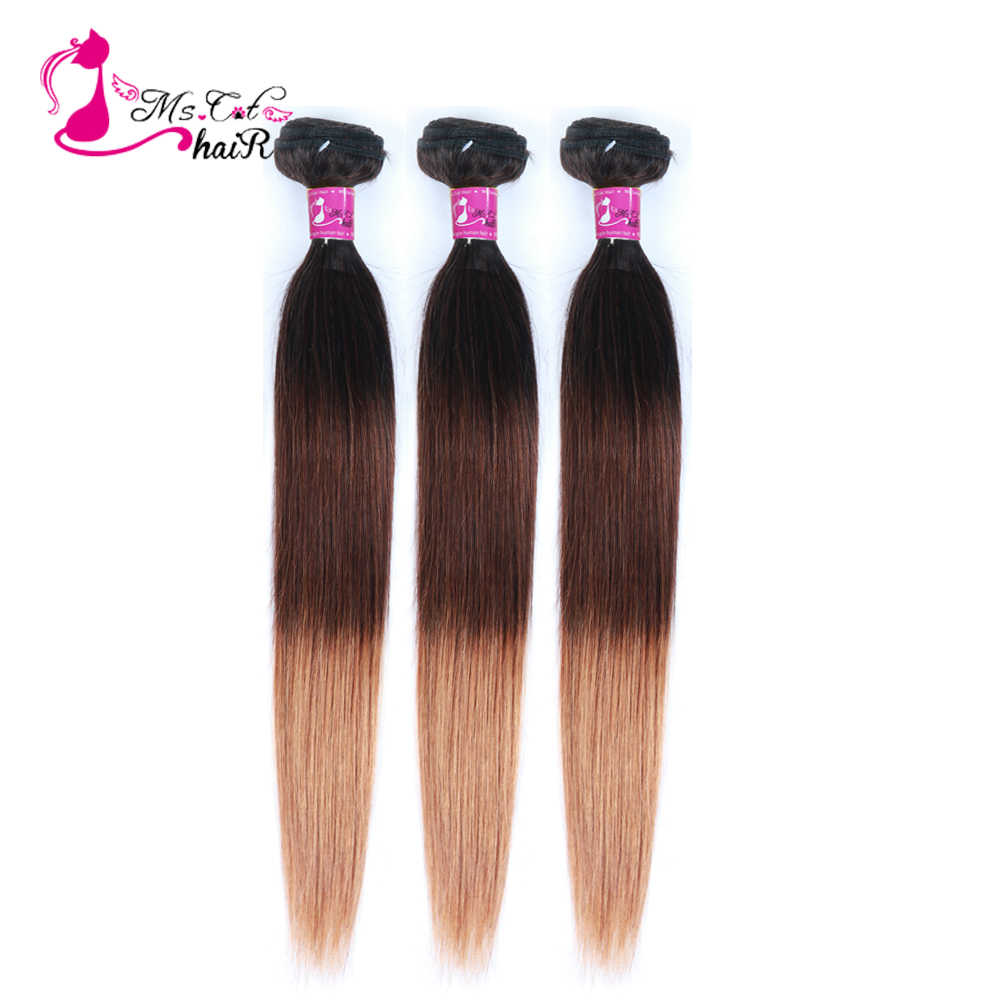 MS Kat Haar 3 Kleur Ombre Braziliaanse Steil Haar T1B/4/30 Remy Haar Weave Bundels 100% Human hair Extensions 3 Stks/partij