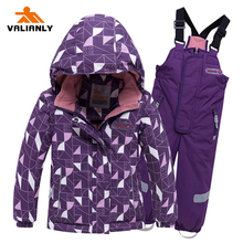 VALIANLY 2019 Winter Ski Suit Girls Jacket + Strap Pants Kids Snow suit Sets Children Waterproof Windproof
