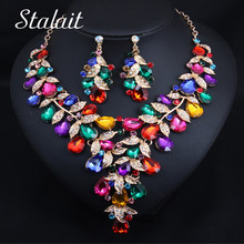 Luxury Leaf Water Drop Colorful Crystal Necklace Earrings Jewelry Sets Party Wedding Prom Trendy Bridal Jewelry Gifts For Women