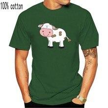 Vaca com manchas marrons imprimir branco topos & t venda quente desenho dos desenhos animados camiseta engraçado masculino roupas bonitas plus size