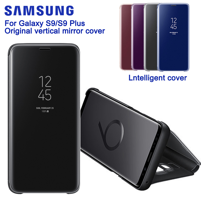 SAMSUNG Original Miroir Couverture Vue Dégagée Téléphone étui pour SAMSUNG GALAXY S9 G9600 S9 + Plus G9650 Authentique Rouse Étui Mince
