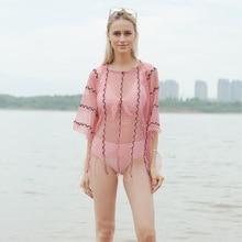 Ouseout tassel  cape summer perspective suntan beach bikini blouse plus-size coat shawl geo embroidery tassel detail blouse