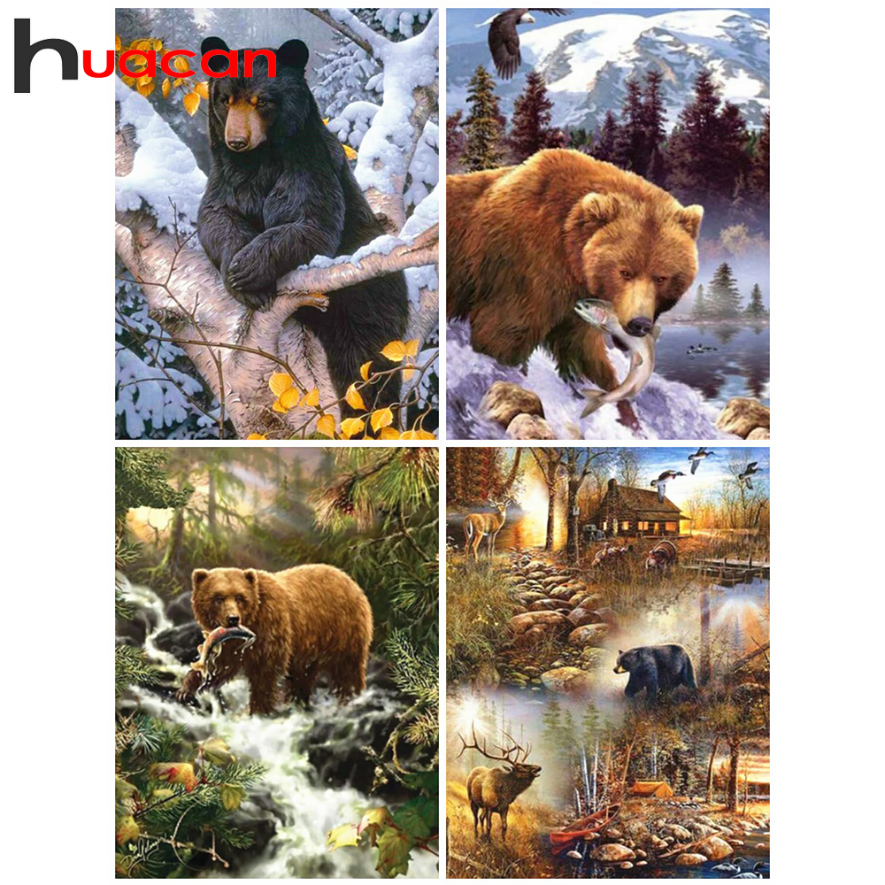 Full Drill 5D Diamond Painting Brown Bear Cross Stitch Kit Embroidery Home Decor