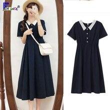 Lady Dresses Basic-Wear Patchwork Vintage Cotton Woman Cute 8201 Waist Navy-Blue Temperament