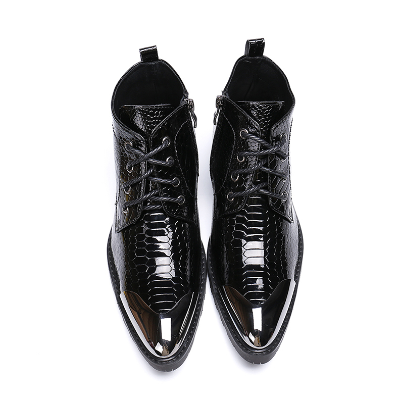 Europe America Winter Pointed-toe Lace-up Zip Ankle Boots  High Heel Iron Toe Boots Fashion Rough Martin Boots