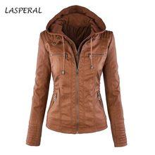 LASPERAL Faux Leather Jacket Women Hoodies Gothic Motorbike Basic PU Jacket Outerwear Hooded Zipper Waterproof Ladies Coat