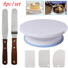 11Inch Rotating Cake Turntable Set Plastic Dough Knife Decorating Rotary Table Cream Cake Stand Baking  DIY Supplies Tools