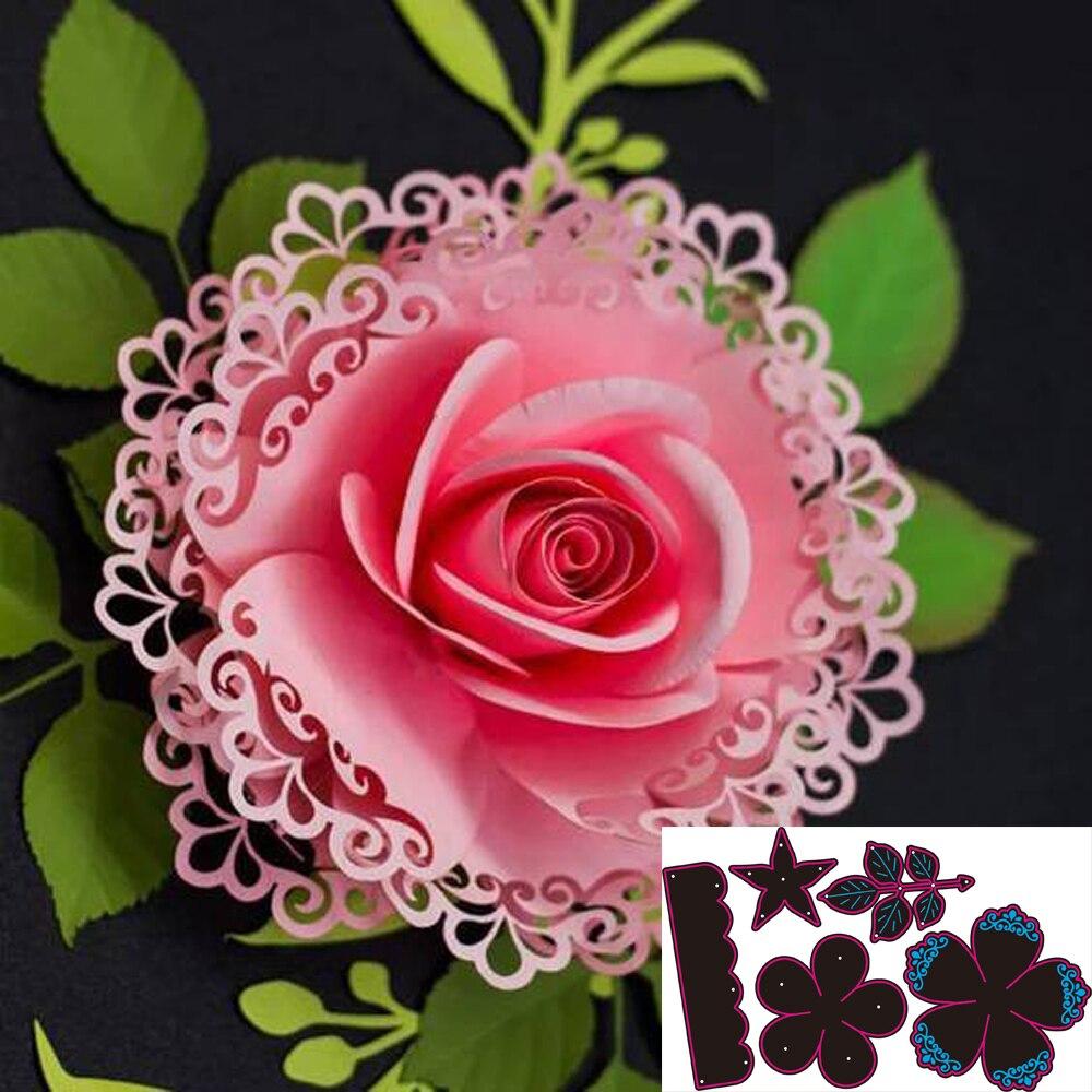 Metal Cutting Dies For Scrapbooking Die Rose Flower Leaves Cut Dies DIY Paper Cards Craft Diy Metal Cutting Dies Flowers Tree