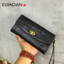 EUMOAN New retro long leather female hand clutch bag fashion tree cream wallet