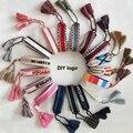Moda estilo da marca tecido bangle diy logotipo mão-bordado listra algodão tecelagem pulseiras para mulher