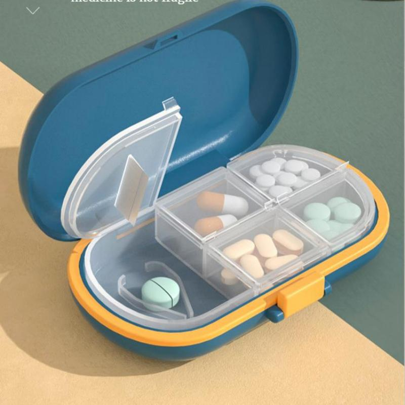 Portable Small pill box Mini Carry-on Pill storage box medicine Separately packed box Pill cutter Sealed classification pill box