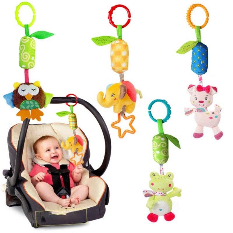 Infant Toys Mobile Baby Cartoon Animal  Plush Doll Bed Rattles Crib Stroller Hanging Bells Toys